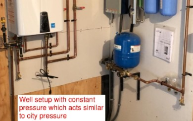 Constant pressure system for a well set-up. Gives the same effect as city pressure.